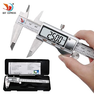 High-resolution (0.01mm) digital vernier calipers (150mm/6inch range), stainless steel